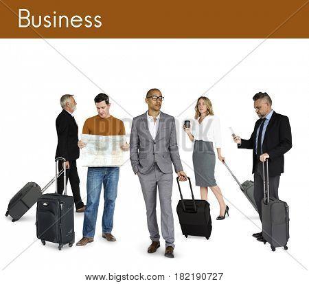 Diversity People Travel Luggage Studio Isolated
