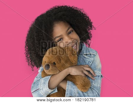Little Girl Hugging Teddy Bear Soft Toy