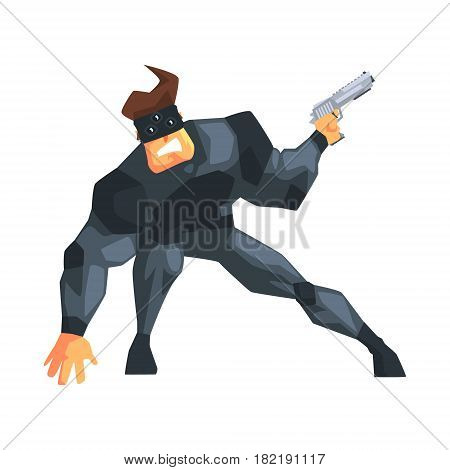 Secret Service Male Agent Undercover Wearing Mask. Handsome Muscly Professional Man Asset In Fancy Suit And On Duty. Cartoon Hero Special Force Crime Fighter Character Colorful Vector Illustration.