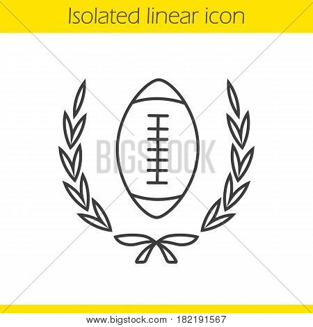 American football championship linear icon. Thin line illustration. American football ball in laurel wreath. Contour symbol. Vector isolated outline drawing