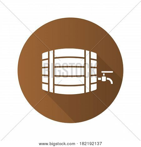 Alcohol wooden barrel. Flat design long shadow icon. Whiskey, beer or rum barrel with tap. Bar and pub sign. Vector silhouette symbol