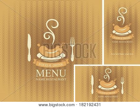 Set of design elements for a cafe or restaurant from the menu and business cards with flatware and hot sausage on beige background