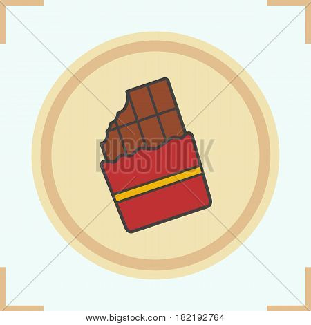 Chocolate color icon. Bitten chocolate bar. Isolated vector illustration