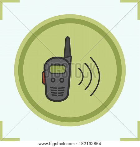 Walkie talkie color icon. Radio transceiver. Isolated vector illustration