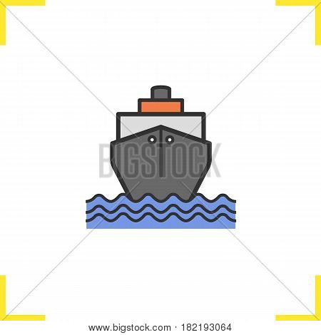 Cruise ship color icon. Shipping tanker. Isolated vector illustration