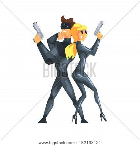 Secret Service Agents Standing Back To Back With Guns, Couple Of Assets On Duty.Cartoon Hero Special Force Crime Fighter Character Colorful Vector Illustration.