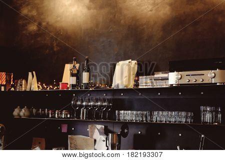 Barman's workplace in modern bar
