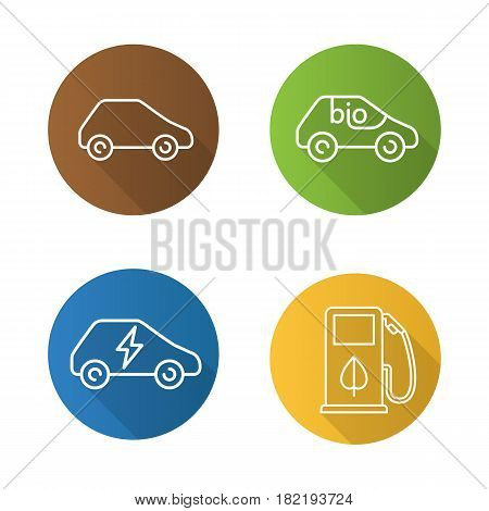 Eco friendly cars. Flat linear long shadow icons set. Bio, electric vehicles, eco fuel concept. Vector line illustration