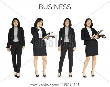 Business Woman Working Set Gesture Studio Isolated