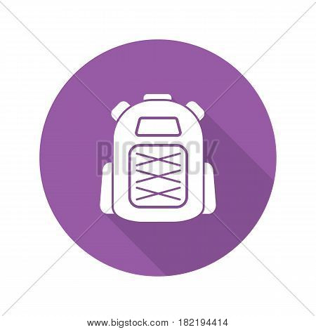 Backpack flat design long shadow icon. Tourist's rucksack. Vector silhouette symbol