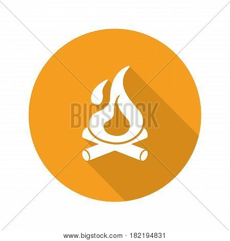 Campfire flat design long shadow icon. Bonfire with firewood. Burning fire. Vector silhouette symbol