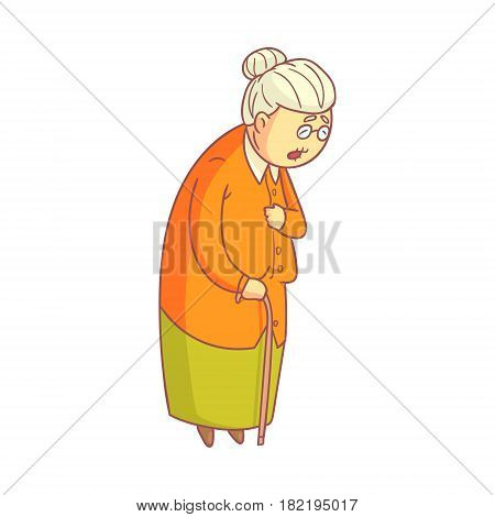An elderly woman walking with cane. Colorful cartoon character isolated on a white background