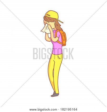 Unhealthy girl blowing her nose with a tissue. Colorful cartoon character isolated on a white background