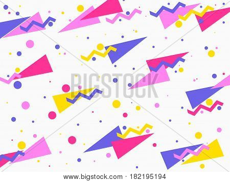 Background with a flat geometric design memphis in the style of 80's. Elements of style bauhaus. Vector illustration
