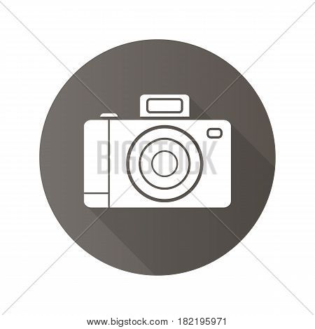 Photo camera flat design long shadow icon. Slr photocamera. Vector silhouette symbol