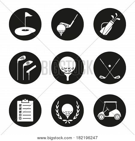 Golf icons set. Ball on tee, golf cart, clubs, golfer's checklist, championship symbol, bag, course, flagstick in hole. Vector white silhouettes illustrations in black circles