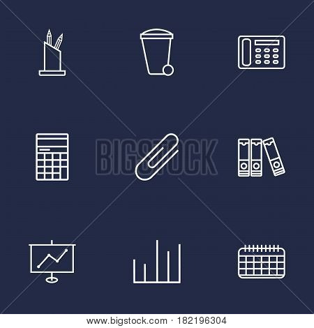 Set Of 9 Service Outline Icons Set.Collection Of Recycle Bin, Show, Chart And Other Elements.