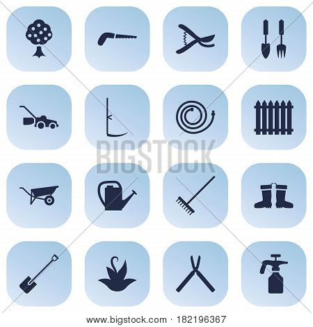 Set Of 16 Farm Icons Set.Collection Of Shovel, Spray Bootle, Lawn Mower And Other Elements.