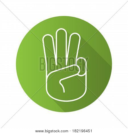 Three fingers up flat linear long shadow icon. Scout promise sign. Vector line symbol