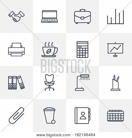 Set Of 16 Bureau Outline Icons Set.Collection Of Workplace, Chart, Portfolio And Other Elements.