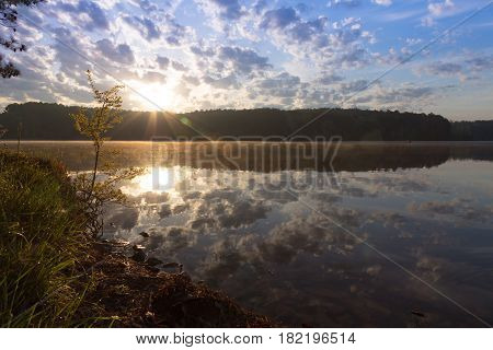 Sunrise over Pin Oak Lake at Natchez Trace State Park Pin Oak Lodge