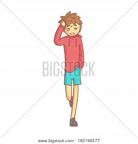 Boy in a red hoodie and blue shorts touching his head suffering a painful headache. Colorful cartoon character isolated on a white background