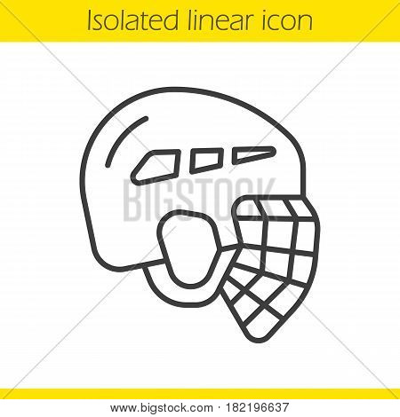 Ice hockey helmet linear icon. Thin line illustration. Contour symbol. Vector isolated outline drawing