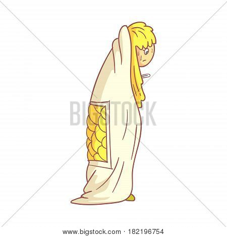 Girl caught flu, having high temperature standing and covered with a blanket. Colorful cartoon character isolated on a white background