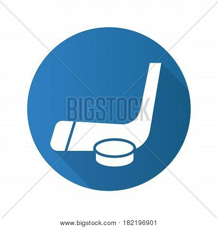 Hockey puck and stick. Flat design long shadow icon. Ice hockey equipment. Vector silhouette symbol