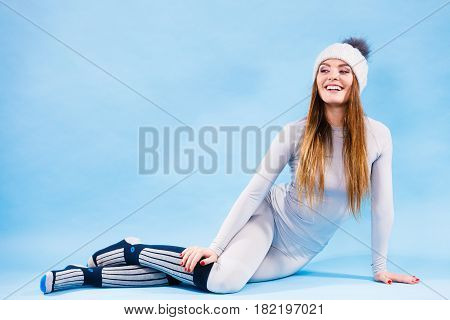 Woman In Thermal Underwear Top Ang Leggings