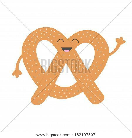 Soft pretzel icon. Sweet salted bakery pastry. Cute cartoon smiling character with face eyes hand. Fast food snack. Isolated. White background. Flat design. Vector illustration