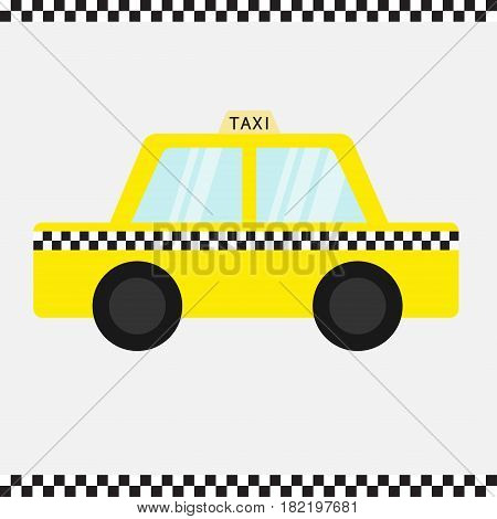 Taxi car cab icon. Cartoon transportation collection. Yellow taxicab. Checker line frame light sign. New York symbol. Isolated. White background. Vector illustration