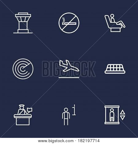 Set Of 9 Airplane Outline Icons Set.Collection Of Detection, Elevator, Sit And Other Elements.