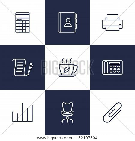 Set Of 9 Service Outline Icons Set.Collection Of Printing Machine, Hot Drink, Chart And Other Elements.