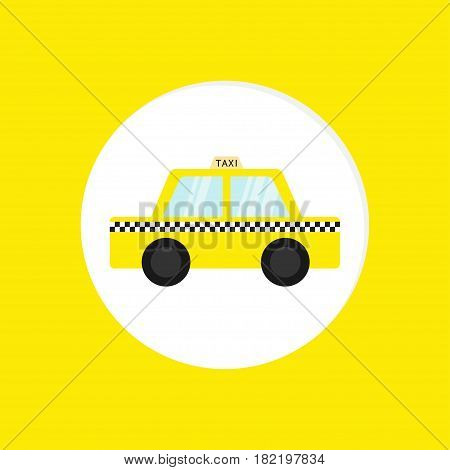 Taxi car cab round icon. Cartoon transportation collection. Taxicab. Checker line light sign. New York symbol. Isolated. Yellow background. Vector illustration