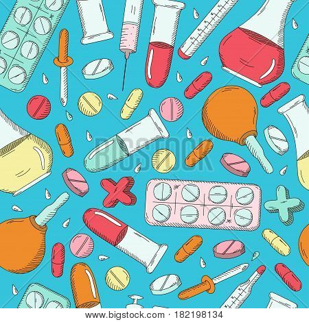 Seamless pattern with healthcare medicine and pharmacy icons and symbols. Medical background doodle. Good for a printing and web materials medical clinic