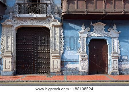 View of a street in the old town of Lima city Peru. Lima is capital city of Peru South America.