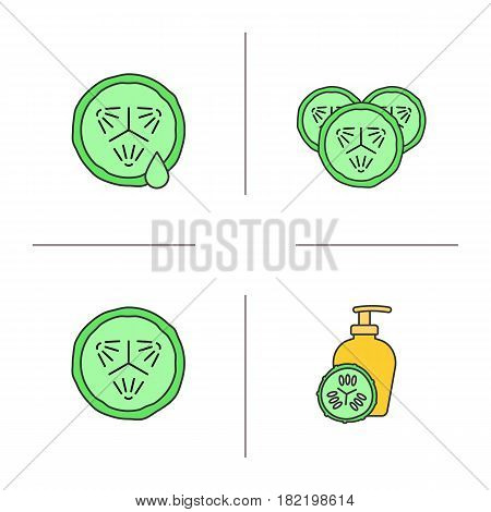 Cucumbers in cosmetology color icons set. Cucumber slices with juice drop, facial mask. Isolated vector illustrations