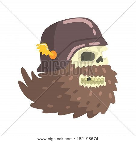 Beardy Scull Smiling Wearing Black Helmet, Colorful Sticker With War And Biker Culture Attributes Vector Icon. Creepy Dead Chost Rider Head Print Cool Cartoon Illustration.