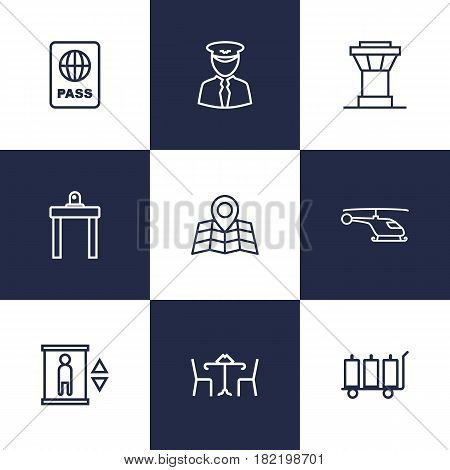 Set Of 9 Aircraft Outline Icons Set.Collection Of Pilot, Map, Helicopter And Other Elements.