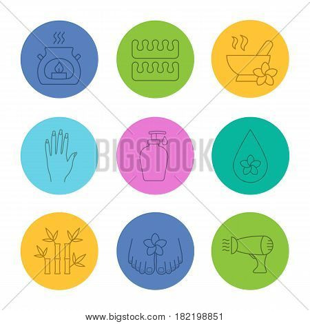 Spa salon linear icons set. Aroma candle, toe separators, mortar and pestle with flower, soap, oil drop, bamboo with leaves, hairdryer. Thin line contour symbols on color circles. Vector illustrations