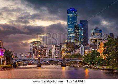 City of Melbourne. Cityscape image of Melbourne, Australia during summer sunset.