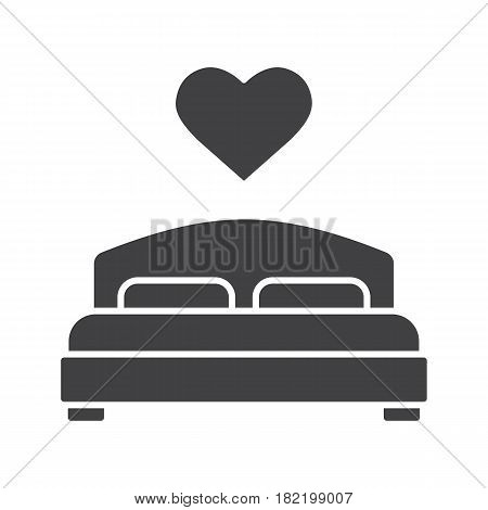 Lovers bed glyph icon. Silhouette symbol. Double bed with heart shape above. Negative space. Vector isolated illustration