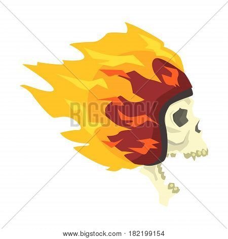 Screaming Scull In Helmet Burning In Flames, Colorful Sticker With War And Biker Culture Attributes Vector Icon. Creepy Dead Chost Rider Head Print Cool Cartoon Illustration.