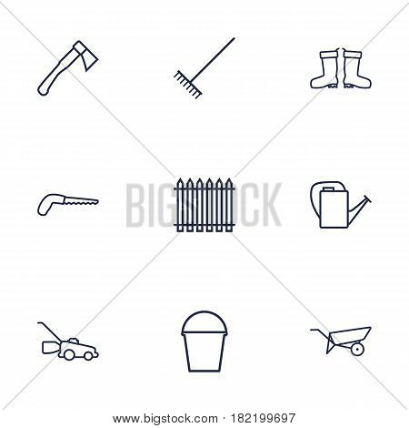Set Of 9 Horticulture Outline Icons Set.Collection Of Arm-Cutter, Palisade, Grass-Cutter And Other Elements.