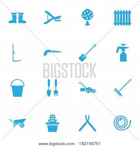 Set Of 16 Household Icons Set.Collection Of Lawn Mower, Hacksaw, Fence And Other Elements.
