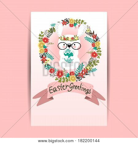 Happy Easter greeting card White and Pink Background