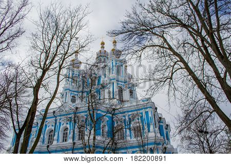 St. Petersburg - 18.04.2017: a complex of temple buildings and temples, a frequently visited place of tourists