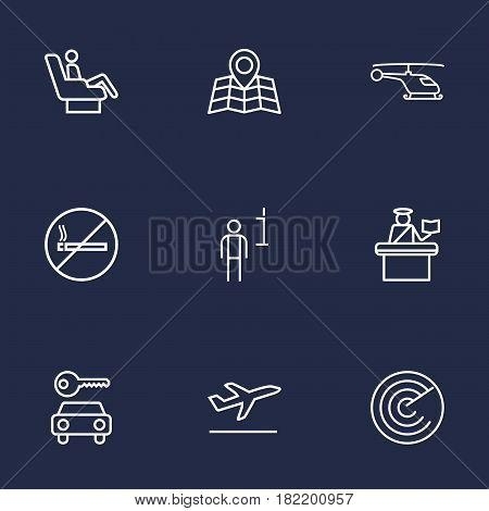 Set Of 9 Aircraft Outline Icons Set.Collection Of Detection, Passport Controller, Map And Other Elements.