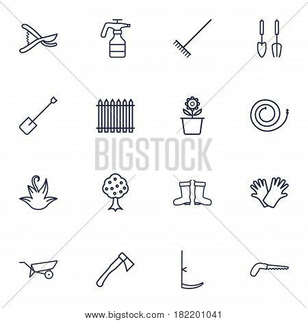 Set Of 16 Farm Outline Icons Set.Collection Of Firehose, Hatchet, Spade And Other Elements.